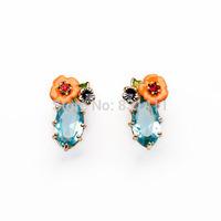 Famous Brand Pink Enamel Flowers Sapphire Crystal Earrings For Women 2014 Fashion Jewelry Free Shipping
