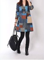 Free Shipping New 2014 Fashion Women Korean Autumn Elegant Temperament O-Neck Long Sleeve Floral Print Plus Size Dress 9097