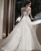 Empire Full Sleeves Long Wedding Dresses Lace Bridal Gowns Vestidos de Noivas 2014 with Train Custom Made