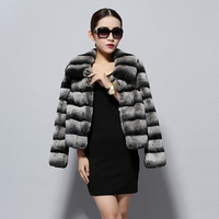 14114 2014 new real top quality rex rabbit fur coat jacket Chinchilla colors thick jacket winter overcoat garment  women dress
