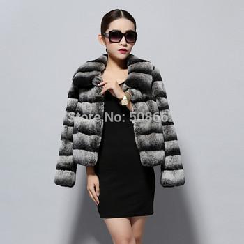 14114 2014 настоящее Высокое качество rex-кролика пальто куртка шиншилла цвета зимнее ...