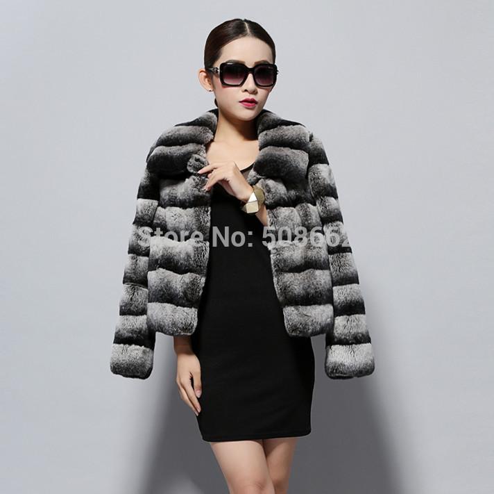 14114 2014 new real top quality rex rabbit fur coat jacket Chinchilla colors thick jacket winter overcoat garment women dress(China (Mainland))