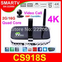 CS918S 5MP WebCam Microphone 4K Android TV Box Quad Core A31 2G RAM 16G ROM AV Out Port WiFi Bluetooth DLNA XBMC Media Player