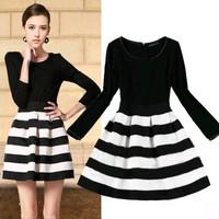 2014 autumn stripe elegant slim waist long-sleeve slim one-piece dress plus size clothing