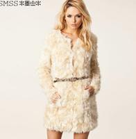 Free shipping 2014 autumn and winter women fashion fur medium-long overcoat outerwear,women clothes