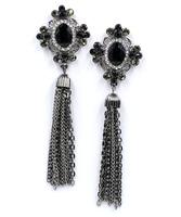 2014 New Arrival statement crystal long chain tassel stud Earrings for women earring wholesale 11.5 CM length