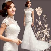2014 Spring lace applique high neckline long Cheongsam vintage Princess Bride  fishtail lace wedding dress trailing