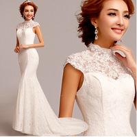 Korean bride lace fishtail trailing wedding dress 2014 spring new customized women mermaid dress