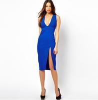 Free Shipping Plus Size Sexy Dresses Hollow Out Sweep Deep V-neck Summer Dress 2014 Sleeveless Women Midi Dress XS-XXL White