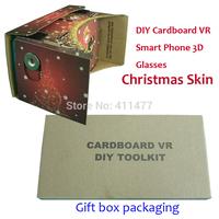 Stock!! Christmas Skin Version DIY Google Cardboard VR  With Printing Instruction On Cardboard Hot...