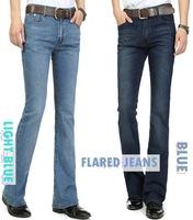2014 Winter mens jeans boot cut leg slightly flared slim fit famous brand blue black male jeans designer classic denim Jeans