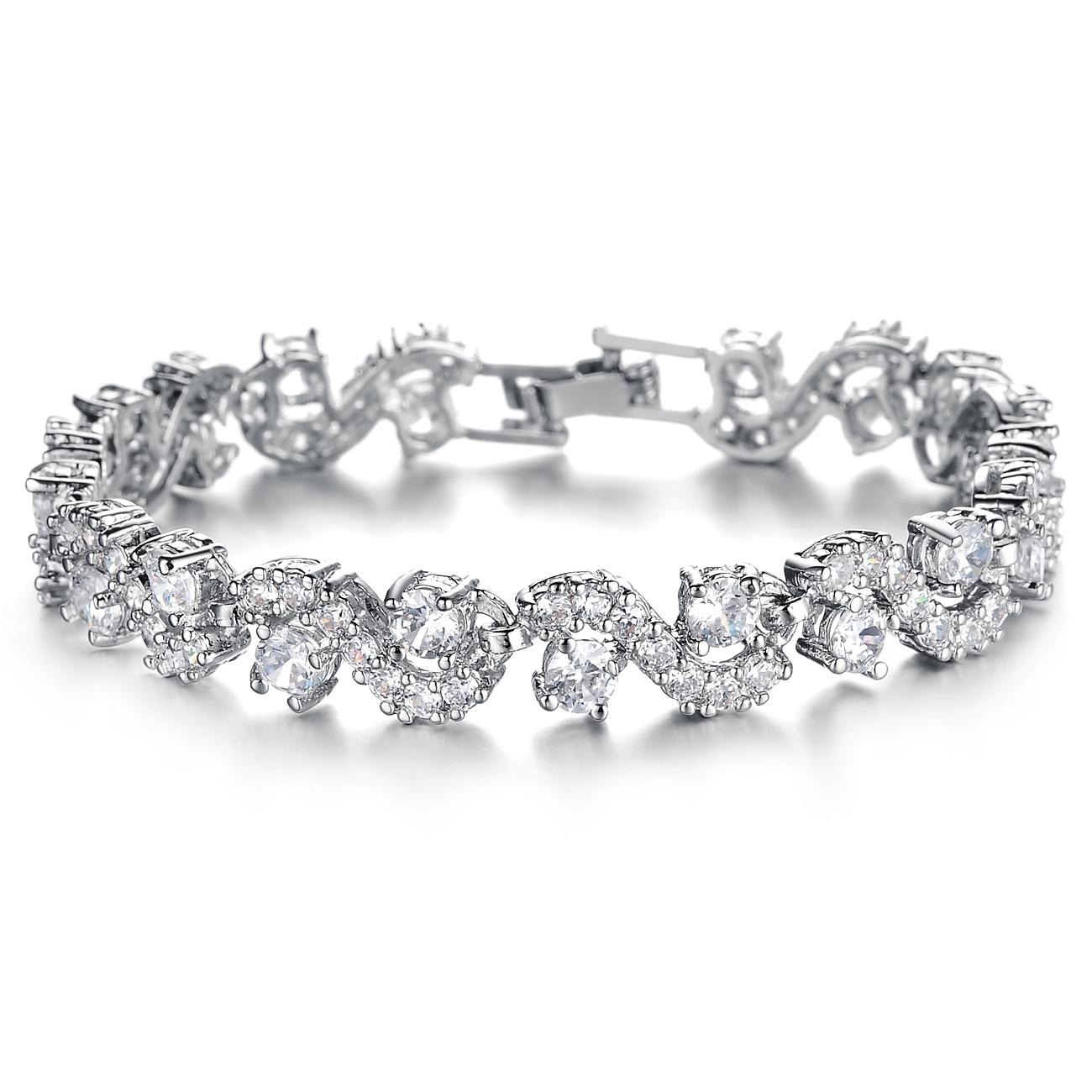 Luxury Wedding Bracelets & Bangles 18K White Gold/Silver Plated Chain White/Blue Austrian Crystal Fashion Women Bracelet(China (Mainland))