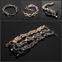 Chinese dragon tricolor titanium steel connection buckle Fashion Bracelet