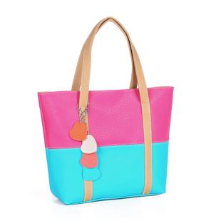 Special Bag 2014 Freeshipping Zipper Women Solid Pu New Korean Shoulder Handbag Trend of Daily Spell Color Floret(China (Mainland))