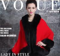 Free shipping S-XXL 2014 New fashion winter female Wool Blends Coat  cashmere shawl imitation fox fur cape SY-029