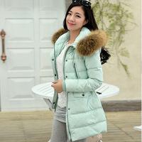 winter jacket women slim real fur collar thickening coat hooded medium-long duck down parka plus size outwear casual overcoat