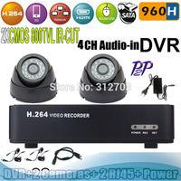 Free shipping  H.264 960H 4 Audio CCTV DVR with 2 pcs CMOS 800TVL IR-CUT Indoor Dome camera Plug&Play