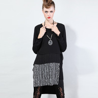 2014 European and American Casual Long Sleeve Patchwork Autumn and Winter Dress