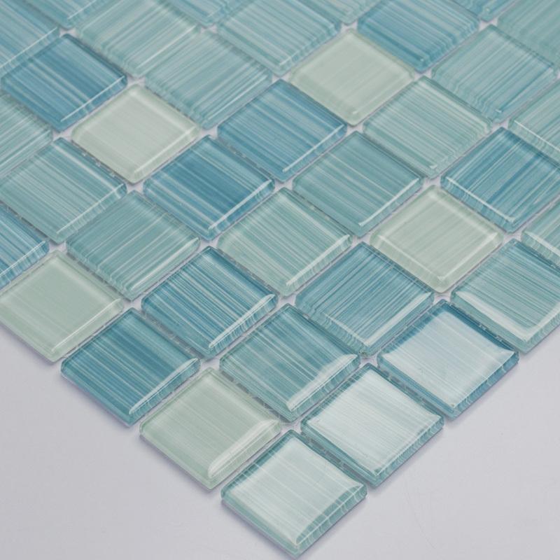 blue hand painted DIY crystal glass mosaic tiles children kids room kitchen backsplash tile bathroom color wall tile HMGM1079B(China (Mainland))