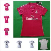 14 15 Top Thai Quality Real Madrid Home Away Women Football Shirt Ronaldo Female Shirt 2015 Real Madrid Pink Bale Soccer Jersey
