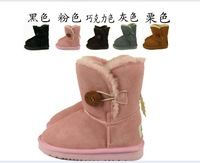 free shipping  wintergenuine leather  kids Australia boos children snow boots for boys and girls, baby sheep fur toddler shoes,