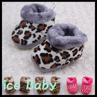Winter Faux Fleece Crib Snow Boots Kid Baby Shoes Cotton Leopard Cotton Baby First Walkers Free Shipping 1236