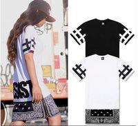 Hip Hop Tee Shirt Cease Desist New Extended Paisley Bandana Print Graphic Side Zip Tee T-Shirt Black White Unisex xl