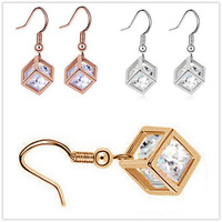 Lowest Price new arrive 18k gold white gold plated Austrian Crystal cube earrings for women fashion jewelry