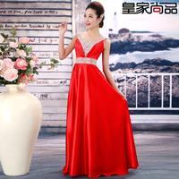 2014 new Korean evening dress toast clothing long design Slim evening gown sexy V-neck Sleeveless dress