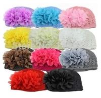 Free Shipping (10pcs/Lot) Baby Handmade Kufi Hat Chiffon Flower Winter Crochet Hat Knitted Beanies Kids Cap 1- 2year Accessories