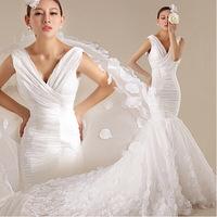 2015 Sexy deep v-neck Slim waist fish tail bride wedding dress factory wholesale flowers big tail bridal dress free shipping