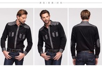 Free shipping 2014 Hot Corduroy stitching shirt full sleeve shirt casual slim fit men shirt popular Fabrics is comfortable