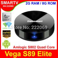 Tronsmart Vega S89 Elite Android TV Box with Amlogic S802 Quad Core 1.8G CPU 2G/8G Memory Mali450 GPU 4K*2K IPTV Media Player