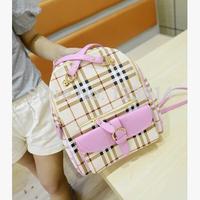New Fashion Colorful Plaid Backpacks Tactical Women PU Leather Backpack School Bags White Yellow Pink Purple Cute Bag N-JG 029