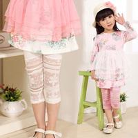 Children's clothing 2014 summer female child leggings lace cutout capris pants