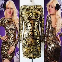 New Women Party Dress Ice Silk Long Sleeve Stripe Mesh Halter Dresses Night Club Sexy Vestido Free Size Stars Party Dress