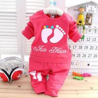 2014 New Autumn Spring baby girls boys clothes set, T-shirt +pants 2pcs/set footmark or cat chldren clothes suits active