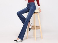 Free Shipping High Quality Women's High Waist Micro Boot Jeans Female Plus Size  Boot Cut Flares Pants Large size trousers 26-40