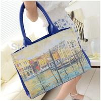 New Fashion Korean Style Handbag Desigual Women PU Leather Casual Painting Shopping Shoulder Bag Inner Pockets Bags N-JG 031