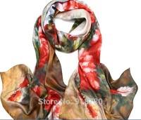 100% mulerry silk pure silk scarf 170cm*50cm long  scarf ,brown base red flower new arrival digital printing scarves