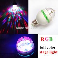 Free shipping  E27 3W 85V-265V RGB Colorful Light LED Crystal Rotating pary Bulb Flash Disco Party Stage Light