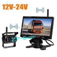 "12V-24V Wireless Car Bus Truck Rear View Kit 18 IR LED CCD Reversing Camera + 7"" LCD Monitor Free Shipping"
