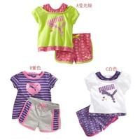 Retail children shampooers jogging tracksuits sport set short sleeve T-shirt+ pants kids Girls baby Summer clothes Suit 1set