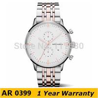Original Watches AR0399 Brand Classic Quartz Round Gold Plated Stainless Steel Strap Chronograph Dial Analog Watch +Original Box