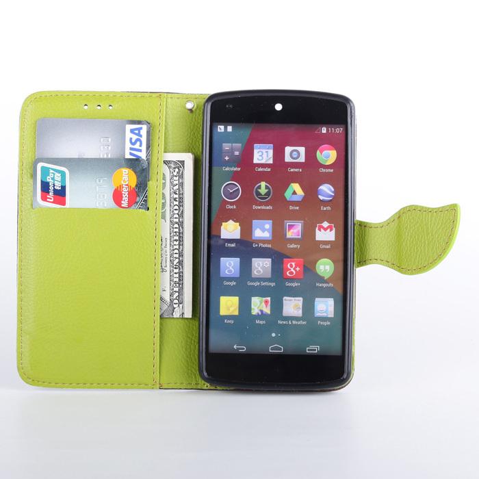 5 cores chegada new livro de luxo estilo pu carteira caso para lg google nexus 5 capa caso com cartão de crédito suporte(China (Mainland))