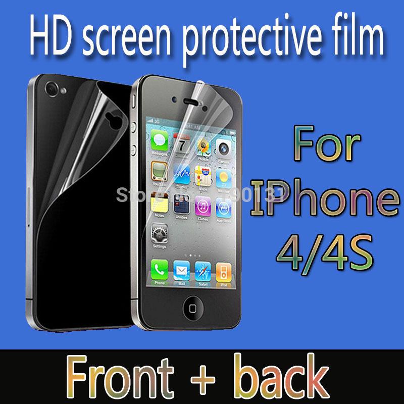Бесплатная доставка - HD ясный протектор экрана для iPhone 4 4S ясно экран защитную пленку экрана гвардии с ткань для очистки для подарка