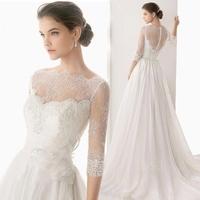 2014 Beach Scoop Zipper Floor-Length Appliques Cap Sleeve Half Court Train Wedding Dresses Free Shipping