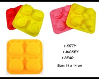 Free Shipping 3 pc Cake Silicone Mold For Kitty For Mickey Mouse For Teddy Bear Fondant Tool Topper Baking Mould Valentine