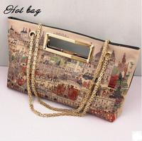 New Brand Women Leather Messenger Bags Graffiti Handbag Lady Bag Fashion Wild Handbag Painting One Shoulder Bag SL1011