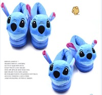 free & drop shipping1pcs/lot retail newest winter 2014 high quality female plush cartoon doll stitch couples cotton slippers